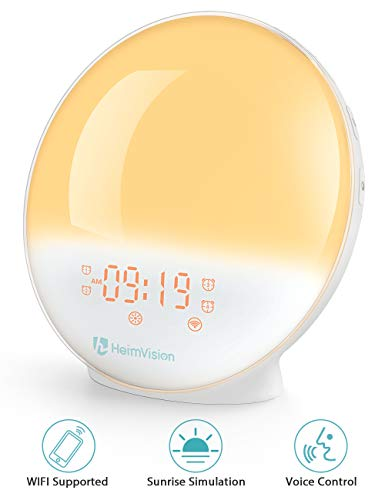 - HeimVision Sunrise Alarm Clock, Smart Wake up Light Sleep Aid Digital Alarm Clock with Sunset Simulation and FM Radio, 4 Alarms /7 Alarm Sounds/Snooze/20 Brightness