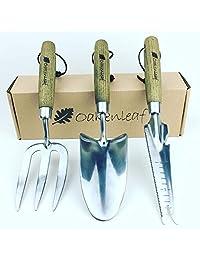 Acero inoxidable 3 piezas Jardín Juego de herramientas de mano con asas de madera, incluye: Paleta, horquilla y Multi herramienta