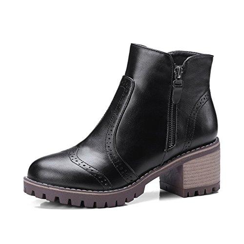 BalaMasa Womens Hounds-Tooth Chunky Heels Ankle-High Urethane Boots ABL10482 Black IkZbu