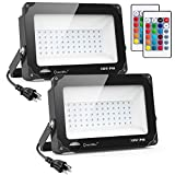 Onforu 2 Pack 100W RGB LED Flood Lights with Remote Control, IP66 Waterproof Dimmable Color Changing Floodlight, 16 Colors 4 Modes Wall Washer Light, Outdoor Decorative Garden Stage Landscape Lighting