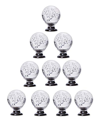 HAPTIME 10pcs Bubble Ball Crystal Glass Cabinet Drawer Knob Clear Diamond Closet Cupboard Pull Handles for Wardrobe Kitchen Bathroom Furniture Shutters, etc (30mm)