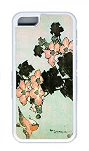 Hibiscus and Sparrow1 Custom Rubber(TPU) white Case for Masterpiece Limited Design iphone 5C by Cases & Mousepads