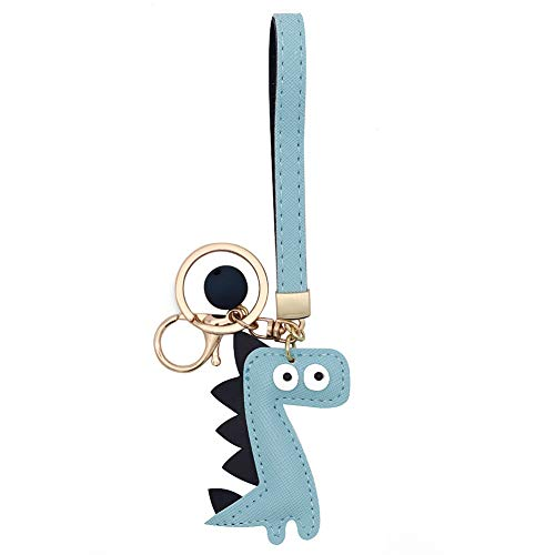 (MUAMAX Dinosaur Key Chain Handmade Leather Key Holder with Wrist Lanyard Cute Key Finder Handbag Decoration Accessories Purse Pendant Fashion Item Car Key Charm Gift for Her ... )