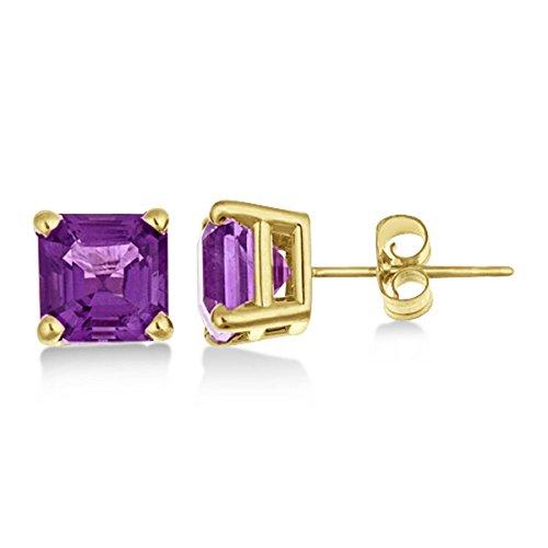 Asscher Cut Amethyst Basket Stud Earrings 14k Yellow Gold (2.10ct) (Asscher Stud)