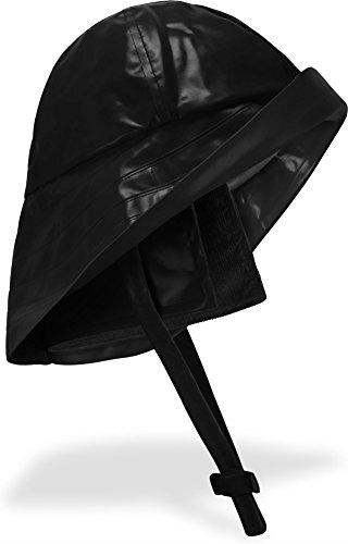 Südwester Regenhut 100 % wasserdicht mit Kinnband Farbe Schwarz Größe L