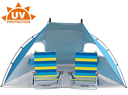 Easy Set Up Portable Sun Shelter Beach Tent Camping Shelter 9ft wide extra roomy & UV Protection. Blue