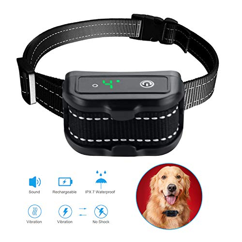 Dog Bark Collar, Bark Control Collar, Anti Barking Collar, Rechargeable Bark Collar with USB Cable and Beep/Vibration/Static Shock Modes, for Small/Medium/Large Dogs, Intelligent/Waterproof/Humane