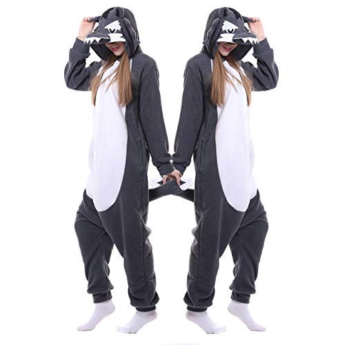 ofodoing Adult Wolf Onesies Pajamas Cosplay Animal Homewear