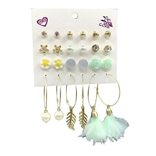 Date Heart Earrings - Quietcloud 12Pairs Women Flower Star Heart Ball Ear Studs Hoop Earrings Cute Date Jewelry Beach Party