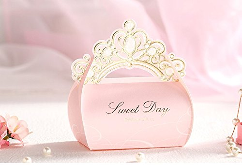 Gourmet Favor (Astra Gourmet 25-Pack Pink Wedding Party Favor Candy Boxes - Crown Handle - Baby Shower Favor Wedding Gifts)