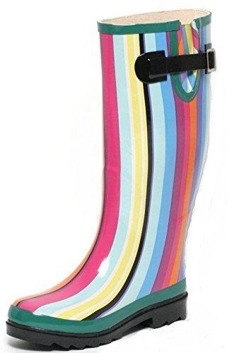 Regen Gummistiefel Gr Mit Rainbow Bunt Streifen Damen 36 Tv81dn8f