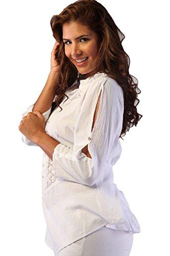 Bouton Vers Le Bas Des Femmes Manches Longues Brodé Blanc Chemise En Coton Pima