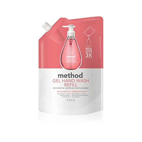 Method Gel Hand Soap Refill, Pink Grapefruit, 34 Ounce (Pack 6)
