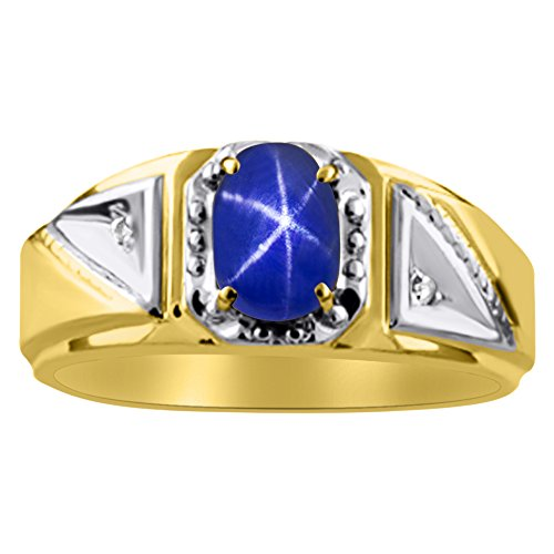 (Diamond & Blue Star Sapphire Ring Sterling Silver or 14K Yellow Gold Plated Silver)