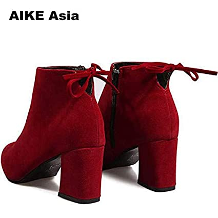 Amazon.com: HuWang 2018 Women Boots Flock Round Toe Winter Ladies Party Western Stretch Fabric Ankle Botines Mujer Open Botas Feminina: Garden & Outdoor