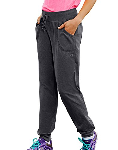 Champion Women's Jersey Pocket Pant, Granite Heather, Large