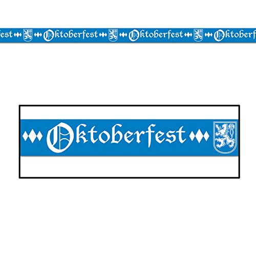 Beistle Club Pack Oktoberfest Blue and White Printed Plastic Party Tape, Box of 12