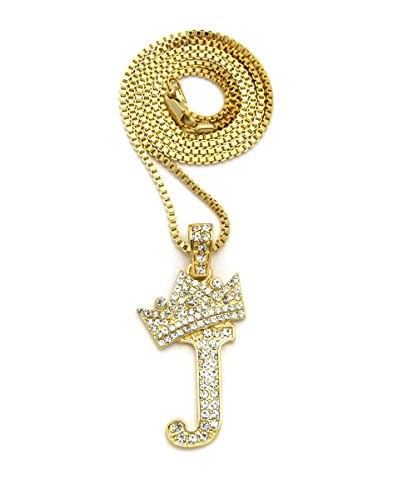 "Iced Out King Crown Alphabet J Pendant 24"" Various Chain Necklace in Gold, Silver Tone"
