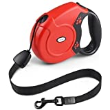 FuPany Retractable Dog Lead, 26ft/8m Extendable Walking Dog/Pet Leads Strong Nylon Leash for Small Medium Large Dogs Up to 40KG/88bls with One Button & Lock System (Red)