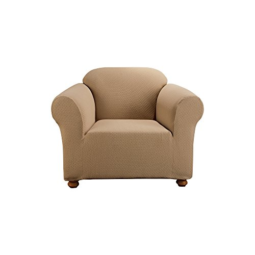 Sure Fit Simple Stretch Subway 1-Piece - Chair Slipcover  - Taupe - Box Stretch