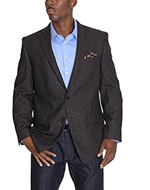 Calvin Klein Slim Fit Black Brown Textured Wool Silk Blend Blazer Sportcoat