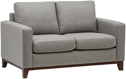 Rivet North End Modern Wood Accent Loveseat Sofa Couch, 58.7 W, Grey Weave