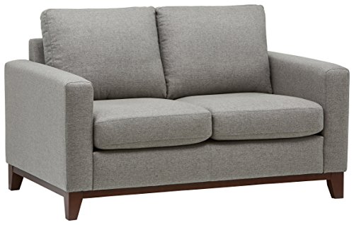 "Rivet North End Exposed Wood Modern Loveseat, 59"" W, Grey Weave"