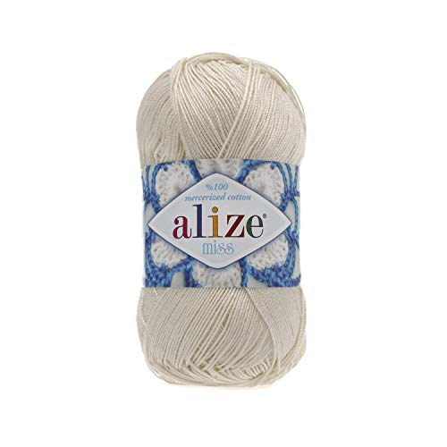 (100% Mercerized Cotton Yarn Alize Miss Thread Crochet Lace Hand Knitting Craft Art Lot of 4skn 200gr Color 62 Cream)