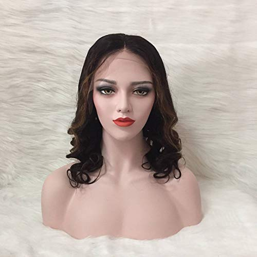 Imiss Hair Glueless Brazilian Lace Front Wigs #1B Highlight #30 Color 10inch Loose Wave Style Middle Part Human Virgin Wigs 130% Density for Women Girls
