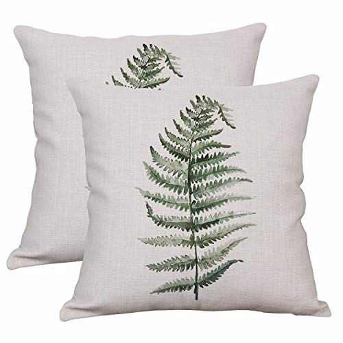 YeeJu Set of 2 Throw Pillow Covers Decorative Green Fern Leaf Cushion Covers Square Cotton Linen Outdoor Couch Sofa Home Pillow Covers 18x18 Inch