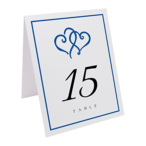 - Documents and Designs Linked Hearts and Border Table Numbers (Select Color/Quantity), White, Royal Blue, 1-20