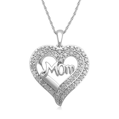 Diamond Cut Out Heart Necklace - Jewelili Sterling Silver 1/2cttw Natural White Diamond MOM Cut Out Heart Pendant Necklace, 18