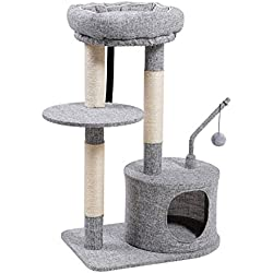 SONGMICS Cat Tree with Sisal-Covered Scratching Posts, Padded Condo and Top Perch, Activity Centre Playhouse Cat Tower Furniture,Linenette Surface, Light Grey UPCT62W