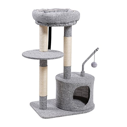 SONGMICS Cat Tree with Sisal-Covered Scratching Posts, Padded Condo and Top Perch, Activity Centre Playhouse Cat Tower Furniture,Linenette Surface, Light Grey ()