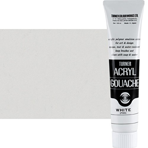 Turner Colour Works Professional Artists' Acryl Gouache Acrylic Paint [Matte] Super Rich Concentrated Color Pigment, Size 100 ml - White