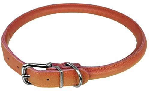 (Dogline Soft and Padded Rolled Round Leather Collar for Dogs W1/2