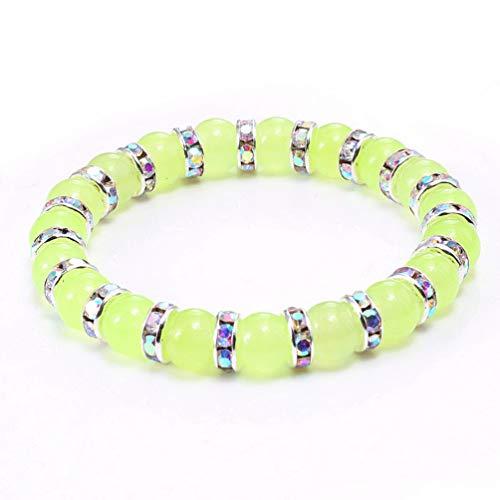 2 Pcs Natural Grape Green Agate Color Diamond Bracelet for Men Women Silver Diamond Crystal Bracelet Temperament Bracelets Meditation Beads Series Chain with 1Packing Box Bag (Ab Drill) -