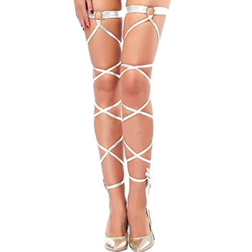 3b04fe344c5 Women Sexy Leg Wraps for Rave Dancing Party Shiny Metallic Leg Wrap with  O-ring (Silver)