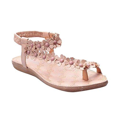 52e009d33fae3f LHWY Sandalen Damen Zehentrenner Sommer Bohemia Süße Perlen Sandalen Clip  Toe Sandalen Strandschuhe Slipper Casual Elegant