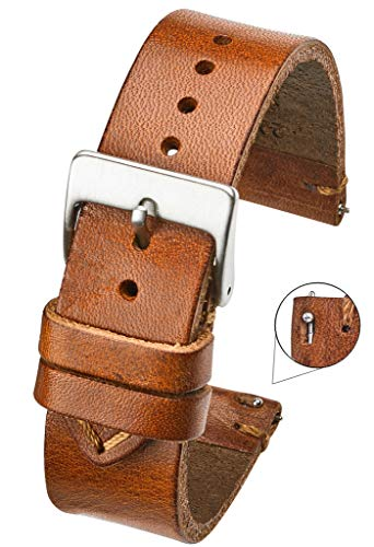 - Hand Made Genuine Vintage Leather Watch Strap with Quick Release Steel Spring Bars - Tan - 20mm (fits Wrist Size 6 1/4 inch to 8 inch)