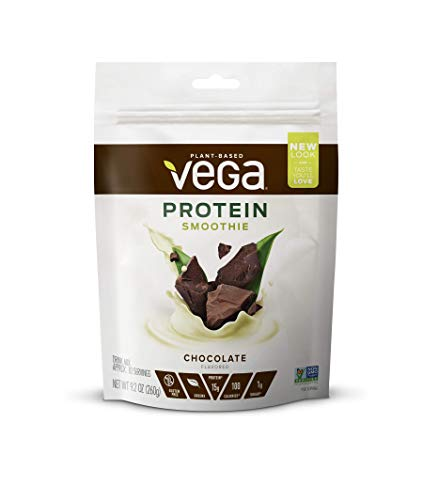 - Vega Protein Smoothie, Chocolate, 10 Servings, 9.2 oz Pouch, Plant Based Vegan Protein Powder, Keto-Friendly, Gluten Free,  Non Dairy, Vegan, Non Soy, Non GMO