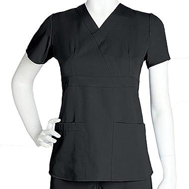 Ultra Soft Brand Scrubs - Premium Womens Junior Fit 3 Pocket Mock Wrap Scrub Top, Black 36146-Small