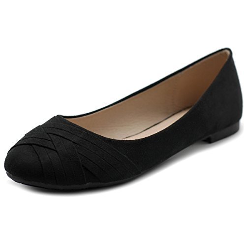Ollio Women's Ballet Shoe Cute Casual Comfort Flat ZM1987(9 B(M) US, Black) (Ballet Women Flat Shoes)