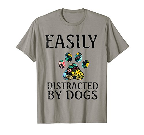Womens T-shirt Dark Dog - Easily Distracted By Dogs T-Shirt