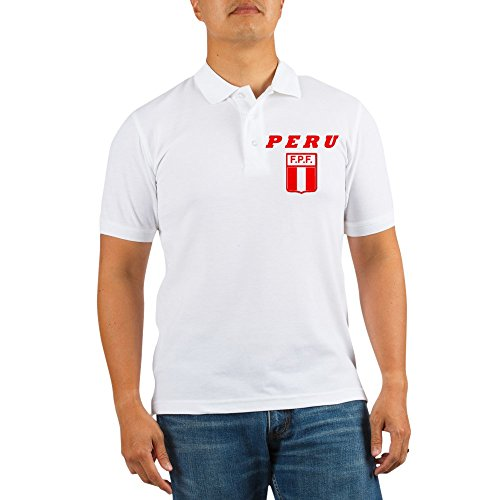 fan products of CafePress - 3-PERU Soccer 1 - Golf Shirt, Pique Knit Golf Polo