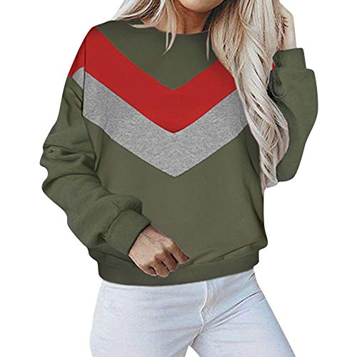 Sleeve Tops Coat Outwear Sweater Shirt Pullover Crewneck Hoodie Hooded Patchwork Women's Sweatshirt Green Jacket Long Blouse zP4Xq7
