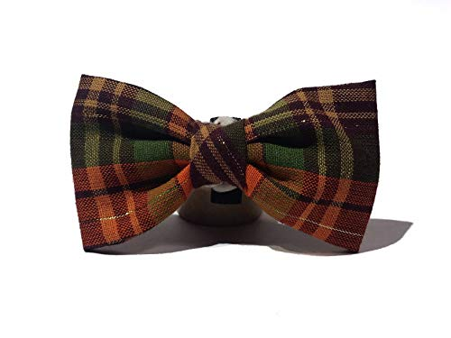 (Very Vintage Design Bow Tie Pumpkin Spice Plaid Nautical & Preppy Summer Fun Orange Green Metallic Plaid Halloween Fall Hand Crafted Collection Organic Cotton Personalized Adjustable Pet Bowtie)