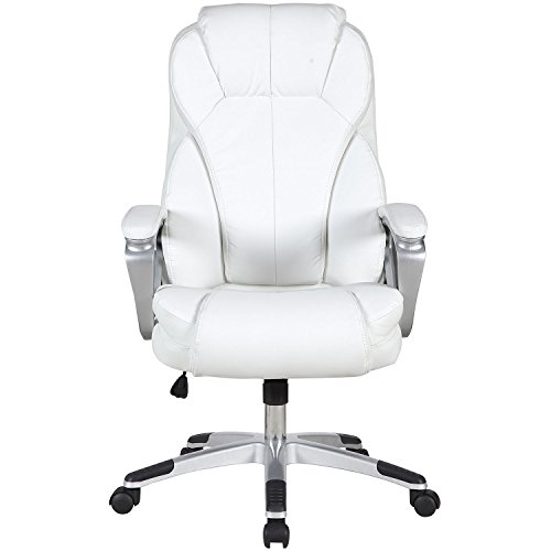 Executive Manger PU Leather Office Chair WHITE High Back Desk Conference Room by Tamsun (Image #3)