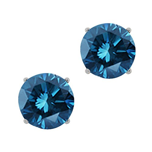 1 2cttw Blue Diamond Round Stud Earrings 14k in White Gold I1-I2