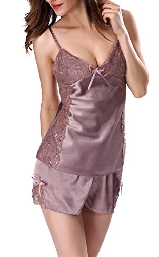 Century Star Women V Neck Pajama Lace Lingerie Two Pieces Strappy Nightwear Sexy Slip Coffee S (US Size (Sexiest Couple Costumes)